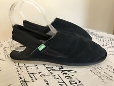 Sanuk Sz 9 Yoga Sling Cruz Black Suede Leather Shoes Sandals 1097576