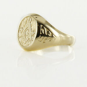 Masonic Square & Compass with Signet Ring With G Solid 9ct Yellow Gold hallmark