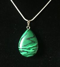 Malachite - Natural Large Water Drop Pendant Including Sterling Silver Chain
