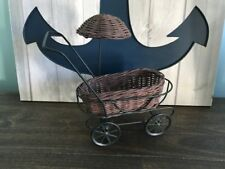 Boyd's Bears Wicker Baby Carriage Stroller Umbrella Collectible Furniture