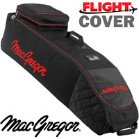 MACGREGOR XL DELUXE WHEELED PADDED GOLF BAG FLIGHT TRAVEL COVER BLACK / RED