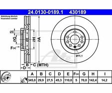 2 St. ATE 24.0130-0189.1 Bremsscheibe   Saab 9-3 9-3 Cabriolet 9-3 Kombi 9-3X