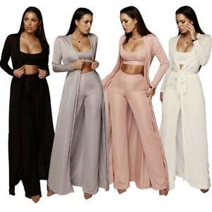 Women Fashion Vest Long Pants Suit With Long Cape Solid Jumpsuit Casual 3pcs