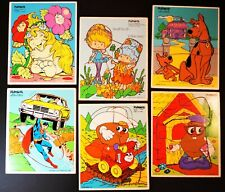 6 Vintage Playskool Wood Wooden Puzzles 1970-80s Superman Herself the Elf Scooby