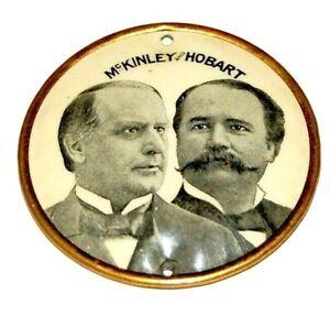 "1896 WILLIAM MCKINLEY GARRET HOBART 1.75"" jugate shell pinback badge ribbon"