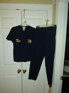 Women CTW Sesame Street Sweet Dreams Elmo Navy Blue Pajamas Set Top Pants Size L