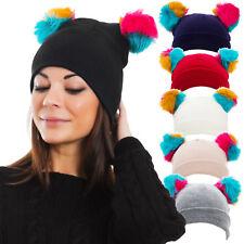 Cappello cappellino donna kawaii berretto tricot pompon ponpon pelliccia M2902