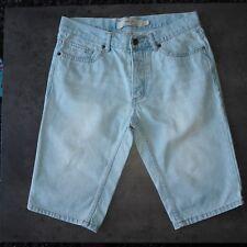 "Immaculate TOPMAN Pale Blue Skinny Denim Shorts - size Waist 30"""