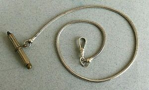 VINTAGE STERLING SILVER DOG CLIP & PLATED POCKET WATCH CHAIN & UNIVERSAL KEY