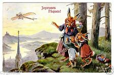 POSTCARD THIELE RABBITS WITH EASTER EGGS WATCH PLANE T.S.N. SERIES 1451