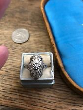 Antique Vintage 1920's Art Deco 14k White Gold Filigree Diamond Ring Estate Piec