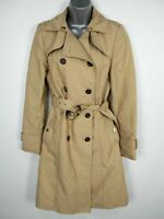 WOMENS ZARA WOMAN EU SMALL LIGHT BROWN DOUBLE BREASTED BELTED SMART TRENCH COAT