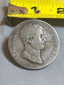 Napoleon Empereur Heavy Silver 'Button' Coin AN12 - 5 Francs Silver Coin REAL!