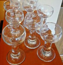 "Solid Glass Round Footed Shot Glasses candle holder 4"" Tall signed set of 6"