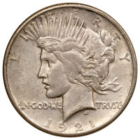 1921 Silver Peace Dollar About Uncirculated AU Coin SKU54393