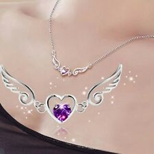 Gorgeous Women 925 Silver Amethyst Drop Pendant Heart Necklace Wedding Jewelry