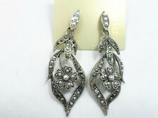 Vintage retro antique style silvery black leaf plum flower dangle charm earrings