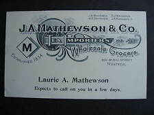 CANADA 1902 JA Mathewson & Co Montreal advertising postcard, check it out!