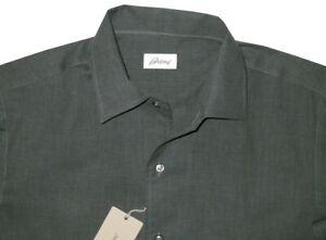 $650 NEW BRIONI GREEN 1 PIECE LIGHTER COLLAR FITTED FIT CASUAL DRESS SHIRT XXL
