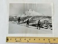 "Summit of Mt. Hood, Oregon 3 skiers Vintage 1932 press Photograph 8""x10"" rare"
