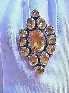 ESTATE SALE CZARINA's  DELIGHT BIG BOLD 925 Sterling Silver GOLDEN CITRINE RING