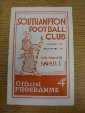 26/11/1960 Southampton v Swansea Town  (folded). This item is in very good condi