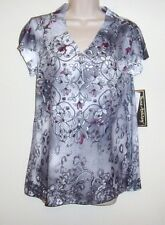 """Jane Ashley Floral Multi Color Studded Pull Over Size S  Bust 36"""" Length 26"""" NWT"""