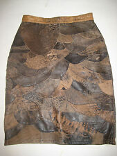 SO SOFT BROWN LEATHER KNEE LENGTH VINTAGE SKIRT Sz 8 PERFECT CONDITION RETRO