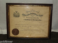 VINTAGE 1896 NEW YORK CERTIFICATE OF INCORPORATION JOHN PALMER SECRETARY SIGNED