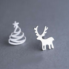 Fashion Christmas Trees Elk 925 Silver Plated Asymmetric All_match Stud Earrings