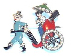 Vintage ART DECO Enamel ASIAN RICKSHAW Crystal SIGNED CORO Kinetic PIN WOW