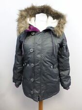 NEW £125 SUPERDRY MEDIUM SIZE 12 GREY HOODED FLEECE LINED SD-3 FLIGHT PARKA COAT