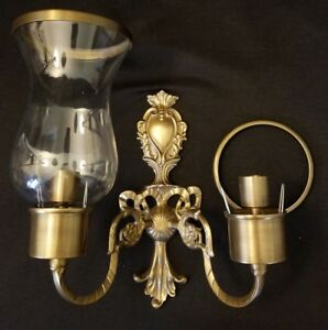Andrea by Sadek Cast Brass Wall Sconce Double Candleholders w/ One Glass Globe