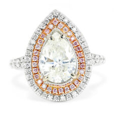 Pear Diamond Engagement Ring with Pink Diamonds 18K White & Rose Gold 2.58ctw