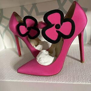 NWT Christian Louboutin Pink Satin Pensee Mary Jane Pumps Barbie Heels Size 37