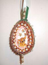 Christmas Ornament Bead Sequin Egg Pin Art with Deer Inside (Vintage Homemade?)