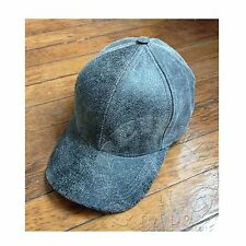 Distressed Genuine Leather Cowhide Baseball Golf Hat Cap Black Made in USA