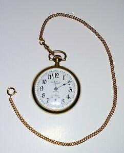 "1923 GF ILLINOIS Santa Fe Special Pocket Watch 21J GF 12"" Chain Open Face Runs"