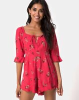 MOTEL ROCK Altary Playsuit in Rouge Rose Pink Size Extra Small XS   (mr29)