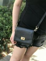 NWT MICHAEL KORS ENVELOP PEBBLED LEATHER CASSIE XS CROSSBODY BAGBLACK /GOLD