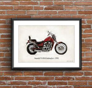 Suzuki VS 800 Intruder - 1992, Art Sketch Poster [without frame]
