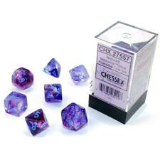 Chessex Nebula Luminary Polyhedral 7-die Dice Set Nocturnal / Blue