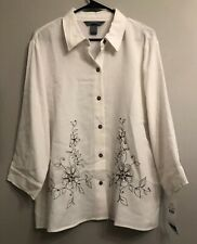 6649cf448c0 Koret White Button Up Floral Embroidery Beaded Embellishments 3 4 Sleeve XL  NWT