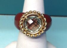14k Gold Agate & Green Amethyst Bold Ring