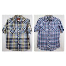 Wrangler and Rustler Western Short Sleeve Plaid Shirt Lot Pearl Snap Button Sz L