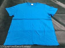 Size LARGE Stedman TURQUOISE BLUE 100% Cotton Short Sleeve T Shirt Top Crew Neck
