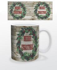 CHRISTMAS LODGE WREATH 11 OZ COFFEE MUG TEA CUP HOLLIDAY GIFT SANTA CABIN FEAST!