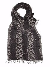 100% Pure Wool Royal Valley Large Leopard Print Grey Jacquard Scarf