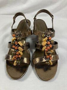 Womens Bandolino Glendale Bronze beaded wedge heels shoes size 10 M