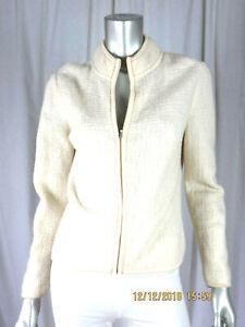 TALBOTS PETITES SZ S 100% Wool Country White Zippered Mock Neck Cardigan Sweater